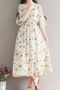 Women loose fitting over plus size retro flower dress long maxi tunic fashion - Dresses 👗 Stylish Dresses, Simple Dresses, Cute Dresses, Casual Dresses, Summer Dresses, Casual Clothes, Maxi Dresses, Casual Shoes, Trendy Fashion
