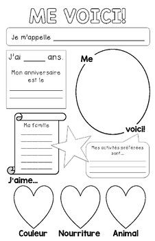 Me voici - French All About Me Poster : Use this poster as an intro activity the first day of school or for a Je me présente unit. Perfect for Core French or primary French Immersion! The poster is 11 French Flashcards, French Worksheets, French Language Lessons, French Lessons, Spanish Lessons, Spanish Language, German Language, Dual Language, Learning French For Kids