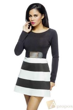 Sommerkleid Freizeitkleid Mini Schwarz Weiß Gürtel Elegant Luxus Apropos