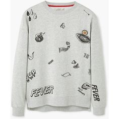 Printed Cotton Sweatshirt ($45) ❤ liked on Polyvore featuring tops, hoodies, sweatshirts, cotton sweatshirts, round top, patterned tops, long sleeve embellished top and long sleeve tops