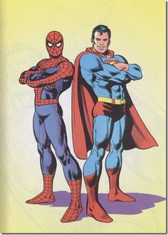Spiderman and Superman. My two all time favorite superheroes! Marvel Dc Comics, Dc Comics Heroes, Marvel Vs, Comic Book Artists, Comic Artist, Comic Books Art, Comic Book Characters, Comic Character, Spiderman Kunst