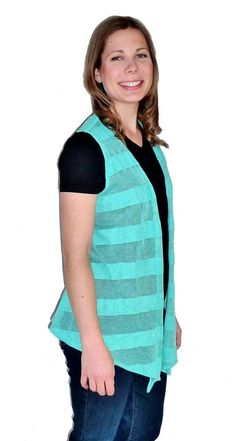 Bright aqua striped flyaway cardigan