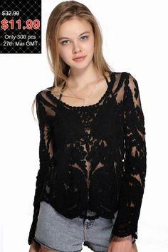Tudo Que Gosto e Muito Mais: Black lace blouse in 3D embroidery - Romwe