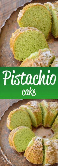 Pistachio Cake - the flavor of pistachio in a moist bundt cake! via : Pistachio Cake - the flavor of pistachio in a moist bundt cake! No Bake Desserts, Just Desserts, Delicious Desserts, Cake Mix Recipes, Dessert Recipes, Food Cakes, Cupcake Cakes, Cupcakes, Pistachio Recipes