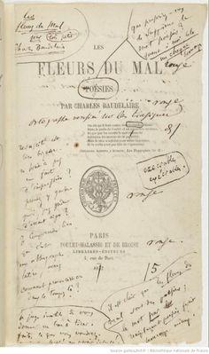 Baudelaire Les Fleurs du mal (1857) Première édition avec notes manuscrites de l'auteur