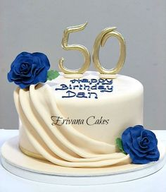 Elegant Birthday Cakes for Women | Ivory and Blue 50th Birthday cake