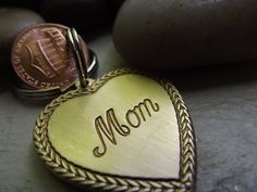 Mom Keychain with two pennies by patsdesign on Etsy, $21.00