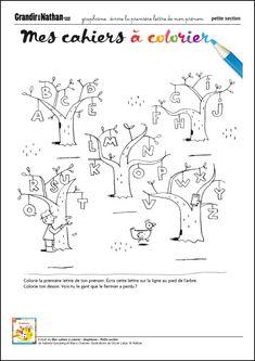 Graphisme - Petite Section - Ecrire la première lettre de mon prénom Activity Games, Activities For Kids, Alphabet, Preschool, Doodles, Teaching, Books, Languages, French Lessons