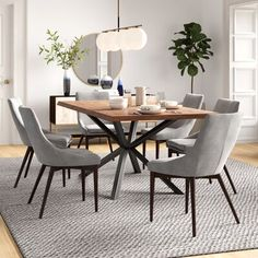 Foundstone Amelia Solid Wood Dining Table Size: H x L x W Modern Kitchen Tables, Contemporary Dining Table, Dining Table In Kitchen, Modern Dining Room Tables, Dining Table Chairs, Dining Room Design, Modern Table And Chairs, Midcentury Modern Dining Table, Dining Room Furniture