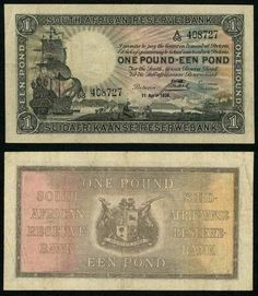 1938 South African Reserve Bank One Pound Banknote Pick Number Nice Very Fine or Better Currency Note One Pound, Old Coins, National Treasure, New Uses, Handmade Books, African History, Red Background, Magic The Gathering, South Africa