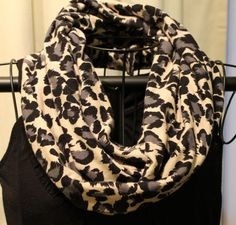 Leopard Infinity Scarf Black gray & cream by ScarfLadyDesigns, $39.00