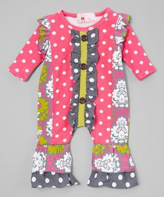 Another great find on #zulily! Pink & Green Damask Dot Playsuit - Infant #zulilyfinds