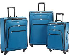 Travel in style with your clothing, shoes, and other essentials packed inside this 3 piece luggage set from American Tourister. The American Tourister Pop Plus Spinner Set is crafted from durable polyester and includes three upright spinner case. 3 Piece Luggage Set, Luggage Cover, Luggage Sets, Travel Luggage, Travel Bag, Log Home Interiors, Moroccan Blue, 60th Birthday Gifts, Luggage Straps