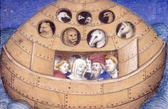 The concept of a round ark emerges from this late 14th-century illustration.