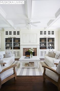 This is a  really nice fireplace wall. I like the way the insides of the shelving units and the doors of same are painted to not be so much white.Muskoka Living | Room | Fireplace