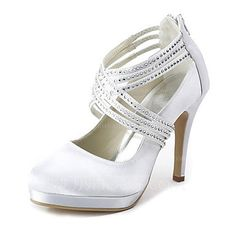 Wedding Shoes - $75.49 - Women's Satin Cone Heel Closed Toe Platform Pumps With Rhinestone Zipper (047020114) http://jjshouse.com/Women-S-Satin-Cone-Heel-Closed-Toe-Platform-Pumps-With-Rhinestone-Zipper-047020114-g20114
