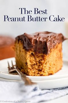This delicious peanut butter cake is simple and easy to whip up but full of delicious peanut flavor. Step-by-step photos show you how to make this easy cake recipe. Top with your favorite frosting, mine is chocolate! Easy Cake Recipes, Best Dessert Recipes, Easy Desserts, Delicious Desserts, Sweets Recipes, Amazing Recipes, Yummy Food, Best Peanut Butter, Peanut Butter Recipes