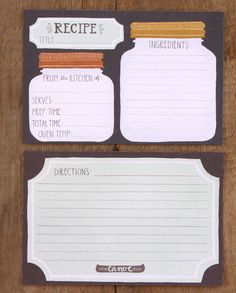 Letterpress Recipe Card Binder Kit by 1canoe2 on Etsy