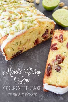 Morello Cherry & Lime Courgette Cake - Zingy zesty lime and sweet morello cherries are a match made in heaven. The star of this recipe is the grated courgette, which makes this cake super fluffy and moist. It's also gluten free, hurrah!