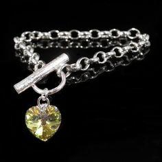 Silver Swarovski Bracelet | Stunning Heart Crystal Charm with 925 Sterling Handmade in the UK