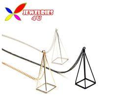 2016 Nova Moda Ouro Prata Preto Cubo Triângulo Longo Colar Falso Para As Mulheres Colares & Pingentes acessórios colar bijoux em Pingente Colares de Jóias & Acessórios no AliExpress.com | Alibaba Group