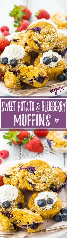 These sweet potato muffins with blueberries are super healthy, sweet, extremely moist, incredibly easy to make, and of course vegan! <3 | veganheaven.org