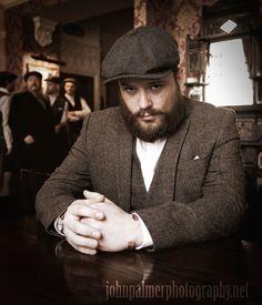 #peakyblinders #tweed #bakerboy #cap #pub #beer #waistcoat #birmingham #bibshirt #vintage #beard