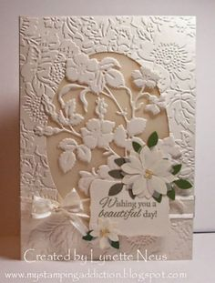 handmade wedding card from My Stamping Addiction ... Anna Griffen embossing folder  and dies ...