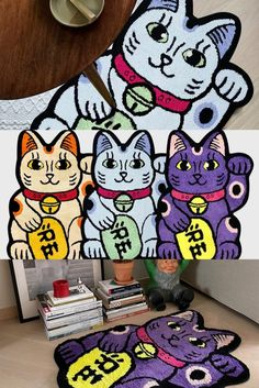"""RAW EMOTIONS came back with the newest additions to its ever-expanding rug collection. The Hong Kong-based label has debuted a new version of the Maneki-neko """"beckoning cat"""" earlier this year. Read more at Homeless Penthouse Magazine! Cat Rug, Tiger Rug, Penthouses Magazine, Maneki Neko, Custom Rugs, Snoopy, Purple, Cats, Hong Kong"""
