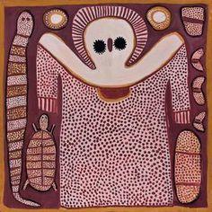 Wandjina, Lily (Mindindil) Karedada; a symbolic depiction of an Australian Aboriginal water spirit; the halo may represent a cloud, and the ray-like lines, lightning. (Bonhams)