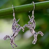 DANGLE EARRINGS - Unique Dangle Earrings at NOVICA Sterling Silver Dangle Earrings, Fantasy Jewelry, Unique Earrings, Mystic, Dangles, Unicorns, Thailand, Animal, Fashion