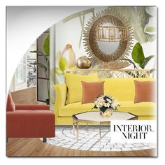 """INTERIOR NIGHT"" by littlefeather1 ❤ liked on Polyvore featuring interior, interiors, interior design, home, home decor, interior decorating, WALL, Anthropologie, Nearly Natural and Designers Guild"