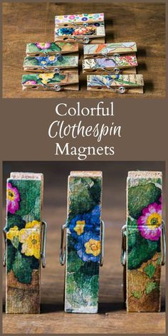 This simple tutorial will show you how to make colorful magnetic clothespins to use on your fridge, or command center. They also make wonderful gifts.