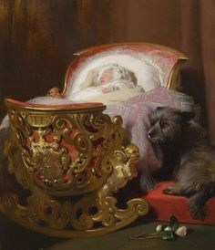 Princess Alice of the United Kingdom in her cradle , 1843 Edwin Henry Landseer - Royal Collection Painting of baby Princess Alice of the United Kingdom. Prince Albert ordered this painting as a surprise gift to his wife, Queen Victoria. Queen Victoria Prince Albert, Victoria And Albert, Princess Victoria, Roi George, Franz Xaver Winterhalter, Grand Duc, Skye Terrier, Beautiful Sketches, British History