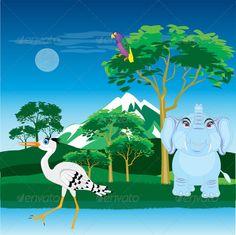Realistic Graphic DOWNLOAD (.ai, .psd) :: http://hardcast.de/pinterest-itmid-1006932179i.html ... African landscape with animal ...  Heron, africa, animals, beautiful, bird, cartoon, clean, ecology, elephant, heat, landscape, mammal, nature, parrot, safari, savannah, sky, summer, tree, water, wild nature  ... Realistic Photo Graphic Print Obejct Business Web Elements Illustration Design Templates ... DOWNLOAD :: http://hardcast.de/pinterest-itmid-1006932179i.html