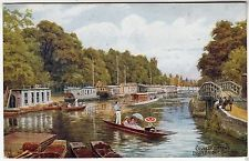 COLLEGE BARGES - Folly Bridge - Oxford - A R Quinton #1345 - c1930s era psotcard