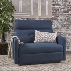 Noble House Hildegard Fabric 2 Seater Recliner,Navy Blue Image 1 of 12 Loveseat Recliners, Glider Recliner, Couches, Blue Loveseat, Recliner Chairs, Bag Chairs, Sectional Sofas, Swivel Chair, Living Room Chairs
