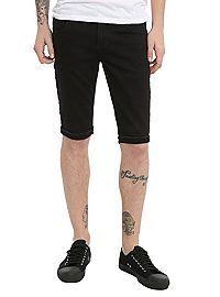 HOTTOPIC.COM - RUDE True Black Skinny Fit Denim Shorts