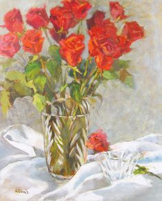 """Deanna's Paintings: """"Roses Are Red"""" Original Still Life Acrylic ..."""