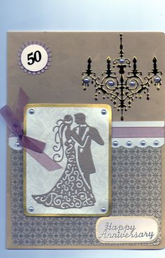 Golden Anniversary card Tattered lace dancing couple and chandelier
