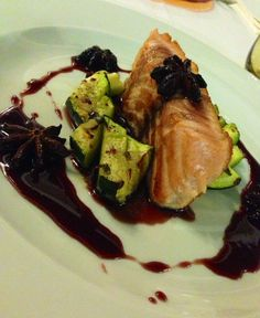 Slightly pan fried Norwegian Salmon with Amarone and star anise reduction served with spicy hot Zucchine