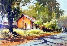 Watercolor Pictures, Watercolor Landscape Paintings, Watercolor Artists, Watercolor Portraits, Watercolour Painting, Watercolors, Art Pictures, Photos, Indian Paintings
