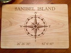 """Compass Rose Laser Engraved Cutting Board, 10"""" X 15"""""""