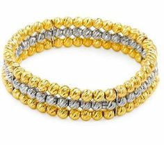 Italian Sterling Silver, Yellow, Rhodium and Yellow Gold Plated 3-Row Faceted Cut Bead Stretch Bracelet