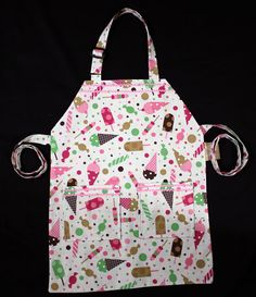 Sweet Tooth #child #apron. Adjustable neck strap and reversible.