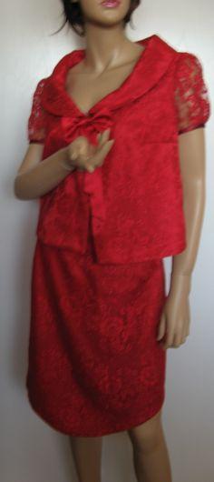 Top et jupe dentelle calais rouge, créés par Lise B. lisebcreations@gmail.com