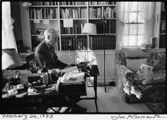 Jill Krementz Photo: E.B. White with Susy, a West Highland White Terrier, in his study in North Brooklin, Maine.