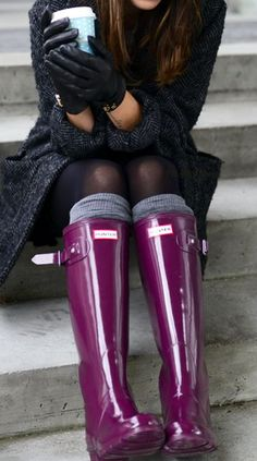 Burgundy purple Hunter boots. Love this shade! With all black!