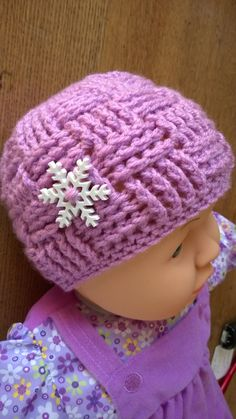 This baby beanie hat is so cute! It is hand crocheted with a soft acrylic yarn, embellished with a big snowflake button. The size is for a baby of 6 to 9 months. Perfect for a lovely baby photo Baby Beanie Hats, Crochet Beanie Hat, Baby Girl Hats, Girl With Hat, Crochet Christmas Gifts, Crochet Gifts, Hand Crochet, Baby Hats Knitting, Crochet Baby Hats