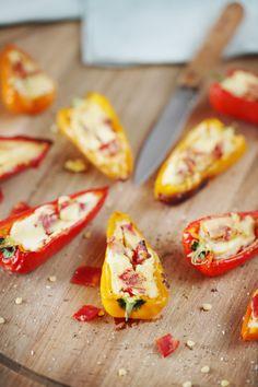 Minis poivrons farcis au fromage frais et chorizo